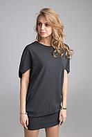 Дизайнерское молодежное платье-туника свободного кроя оригинальный рукав
