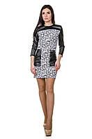 Стильное платье Геометрия-кожа, фото 1