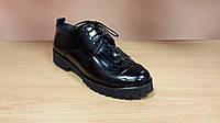 Туфли женские на шнурках натуральная кожа черные