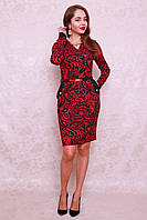 Красивое молодежное платье из трикотажа модной расцветки с кармашками