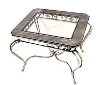 Кованый стол прямоугольный стекло