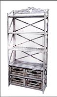 Этажерка деревянная на 4 полки и 4 ящика