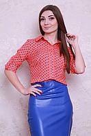 Яркая женская рубашка из штапеля в модный принт горошек