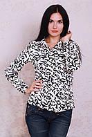 Красивая повседневная блуза-рубашка в бело-черном цвете