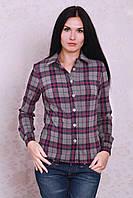 Офисная женская рубашка в клетку с длинным рукавом