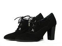 Черные замшевые ботильоны со шнуровкой