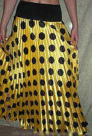 Плиссированная юбка в пол стрейч-атлас, крупный горох