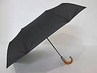 Мужской зонт полный автомат деревянный крюк