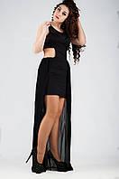 Вечернее платье с шифоновым шлейфом