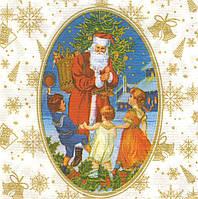 Салфетка декупажная Дед Мороз и дети 5640