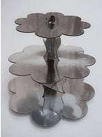 Подставка для маффинов 3-х ярусная картон серебро (код 01833)