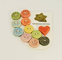 Набор разноцветных пуговиц декоративных керамических ручной работы 11 штук