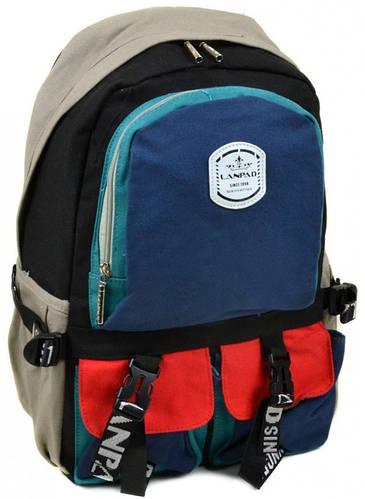 Вместительный городской рюкзак с отделением для ноутбука текстиль Lanpad 27 л. 33640 blue-red-green