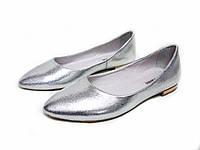 Туфли Т-413 натуральная кожа серебро