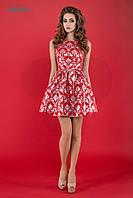 Платье Клубное Коктейльное Серебристо-Красное Короткое р. 42-46