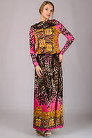 Трикотажное платье Капюшон (тигровое-розовое)