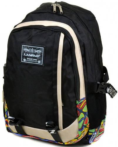 Городской вместительный рюкзак с отделением для ноутбука текстиль Lanpad 27 л. 3374-1 black