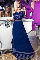 Шикарное комбинированное женское платье с гипюровым верхом с пышной шифоновой юбкой в пол