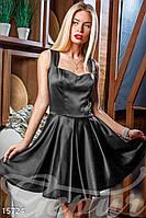 Красивое короткое женское платье -клеш с фигурной линией декольте без рукавов коттон мемори