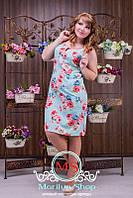 """Яркое разноцветное батальное женское платье """"Лен-1"""" без рукавов"""