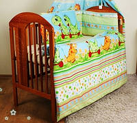 """Детское постельное с защитой на кроватку -""""Дино зеленый"""".Балдахин  вуаль цветная"""