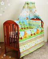 """Постельное детское-Бампер в кроватку новорожденного- """"Дино зеленый"""" №2"""