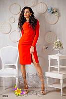 Однотонное женское платье с разрезом впереди креп-костюмка + сетка размеры 42,44,46,48