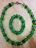 """Набор 2 предмета: колье-бусы, браслет """"Малахит"""" , натуральный камень,малахит."""
