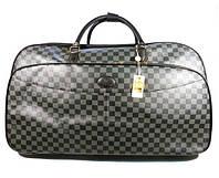 Чемодан сумка дорожная на колесах кожа PU серая большая Louis Vuitton 8654
