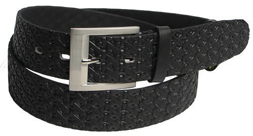 Мужской кожаный джинсовый ремень 3013 чёрный ДхШ: 116х4 см.