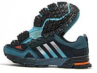 Кроссовки мужские Adidas Marathon черные с бирюзовым (адидас марафон)