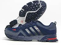 Кроссовки мужские Adidas Marathon темно-синие с серым (адидас марафон)