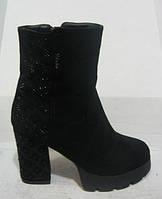 Ботинки женские зимние на каблуке замшевые