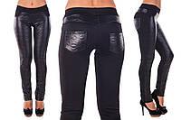 Женские леггинсы с кожаными вставками стежка
