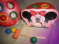 Деревянная развивающая игра с молоточком Мини Маус