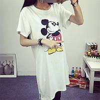 Удлиненная футболка с Микки маусом. 3 цвета