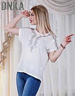 Женская батальная трикотажная футболка с принтом вышивки