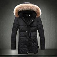 Длинная зимняя куртка черного цвета