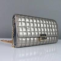 Клатч - сумочка женская кожа PU серебро Сhanel 2009