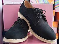 Классические женские черные туфли из натурального нубука