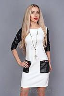 Женское платье с кожаными рукавами размеры 42,44,46,48