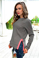 Серый свитшот с розовыми вставками