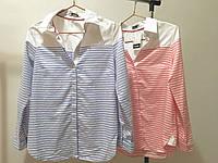 Женская льняная рубашка в полоску