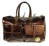 Сумка дорожная лакированная Versace 9073 плетенная, 51*34*26 см