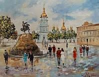 «Виды Киева. Михайловская площадь» картина маслом