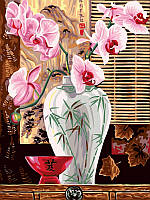 Раскраска по номерам на холсте цветы Babylon Восточные орхидеи (VK011) 30 х 40 см