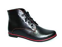 Ботинки женские демисезонные кожаные на шнуровке, фото 1