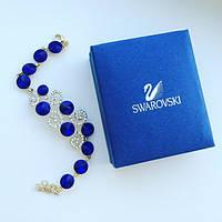 Браслет женский на руку Swarovski Round синий, бижутерия недорого