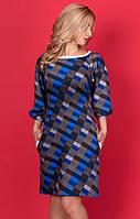 Женское платье из французского трикотажа с рисунком клетка.
