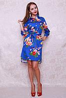 Красивейшее платье-рубашка в ярком цвете из стрейчевого джинс-коттона ассиметричной длины